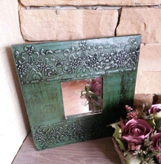 """Зеркала ручной работы. Ярмарка Мастеров - ручная работа. Купить Зеркало """"Green"""". Handmade. Зеленый, зеркальце, двп на подрамнике"""