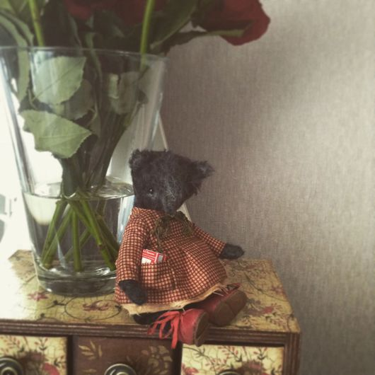 Мишки Тедди ручной работы. Ярмарка Мастеров - ручная работа. Купить Девушка в клетчатом платье. Handmade. Черный, тедди медведи