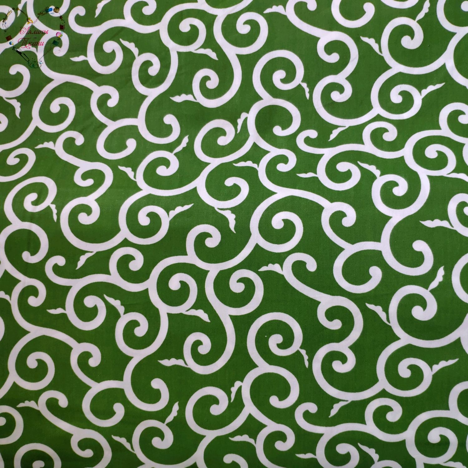 Fabric Cotton Moscow Satin Chinese Monogram green Leaves, Fabric, Moscow,  Фото №1