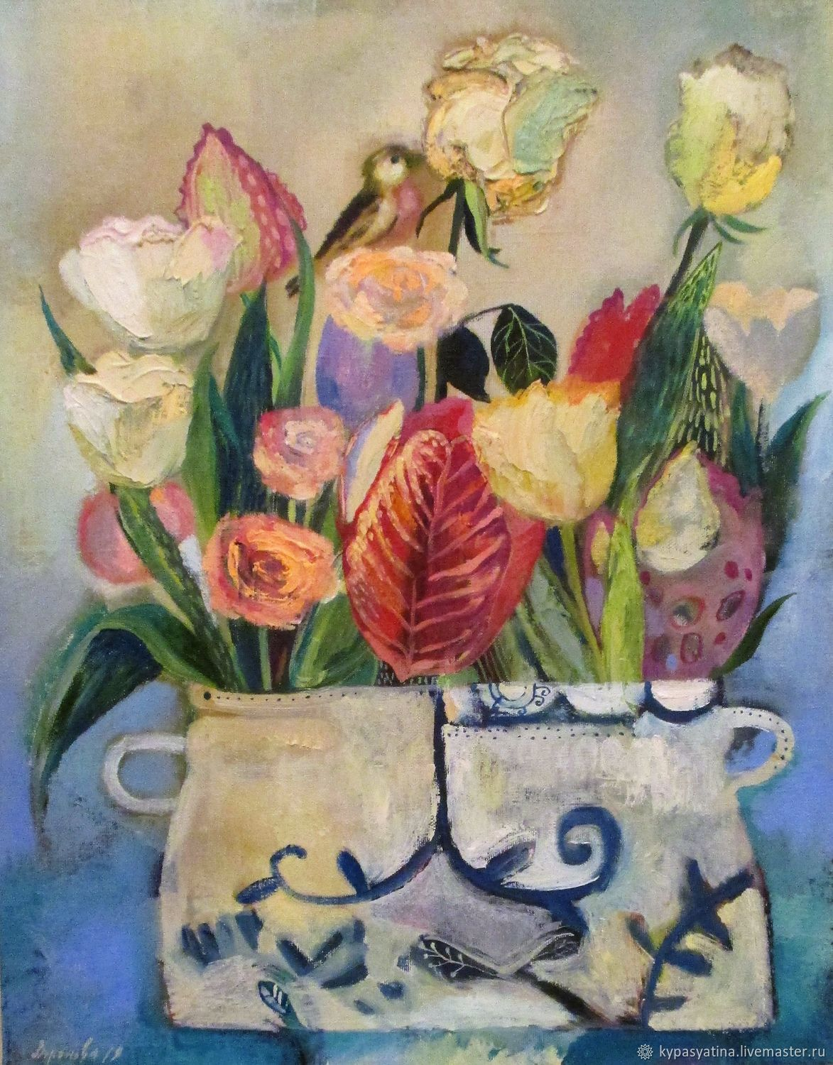 Painting Still Life With White Flowers Shop Online On