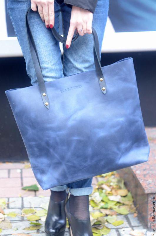 Женские сумки ручной работы. Ярмарка Мастеров - ручная работа. Купить Сумка синяя из натуральной кожи ручной работы. Handmade.