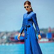 """Одежда ручной работы. Ярмарка Мастеров - ручная работа Платье хлопковое """"Захри"""" синее. Handmade."""