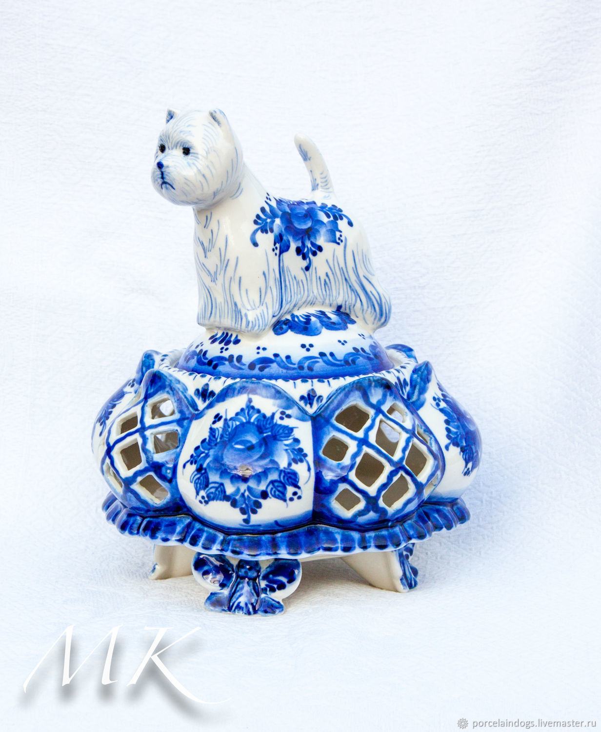 Candy box West highland white Terrier (painted ' Gzhel'), Candy Dishes, Moscow,  Фото №1