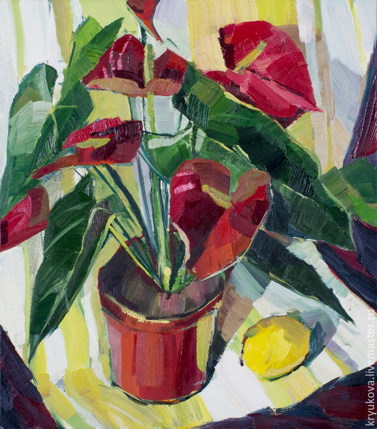 Анна Крюкова (impression-живопись) Картина натюрморт масло Натюрморт масло на холсте Антуриум красный Красный цветок Яркая картина в подарок