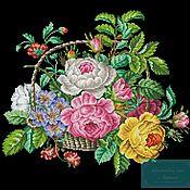 Схемы для вышивки ручной работы. Ярмарка Мастеров - ручная работа Корзинка роз (схема для вышивки бисером). Handmade.