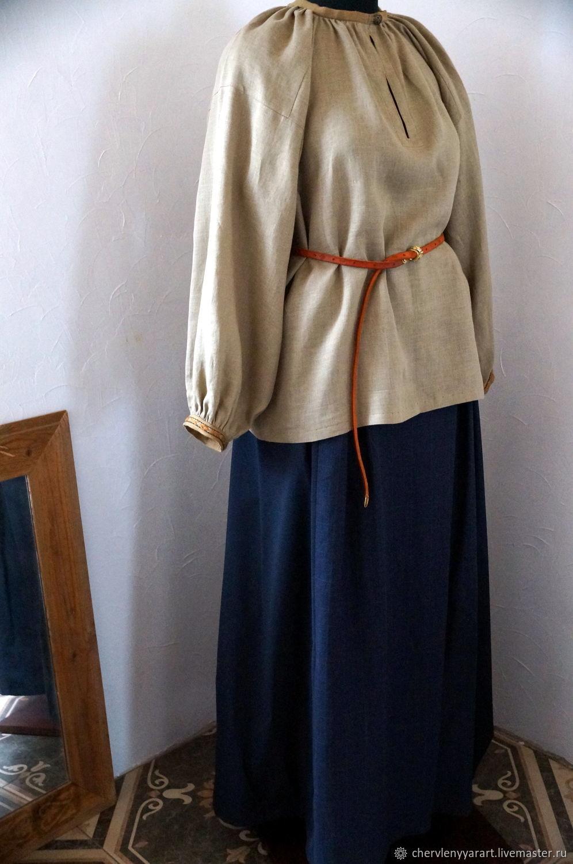 Рубаха женская льняная древнего кроя с прямыми поликами короткая, Блузки, Рамонь,  Фото №1