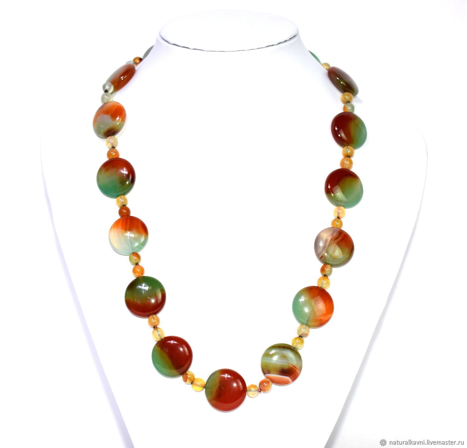 Necklace made of natural agate stone, Necklace, Moscow,  Фото №1