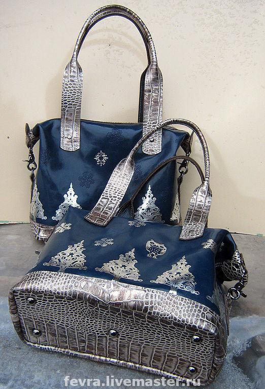 Торжественно - благородное сочетание синего и серебряного, делает эти сумки праздничными и нарядными.