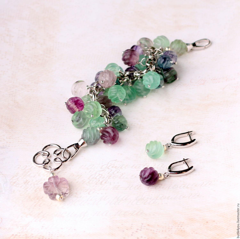'Berry' bracelet and earrings fluorite. Berry gooseberry, Bead bracelet, Moscow,  Фото №1
