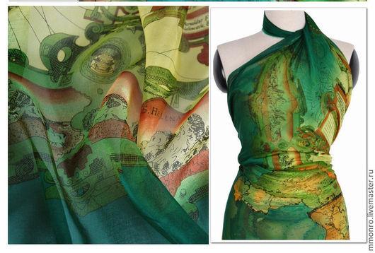 Шитье ручной работы. Ярмарка Мастеров - ручная работа. Купить Ткань из натурального шелка, шифон, Атлас мира. Handmade. Ткань