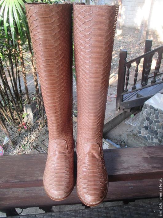 Обувь ручной работы. Ярмарка Мастеров - ручная работа. Купить сапоги из питона коричневые. Handmade. Бежевый, сапоги демисезонные