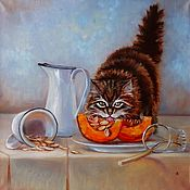 """Картины ручной работы. Ярмарка Мастеров - ручная работа Картина маслом """"Котик и тыква 40 на 40. Handmade."""