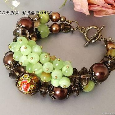 Decorations handmade. Livemaster - original item Romantic bracelet. onyx, rauchtopaz, majorca pearls. Handmade.