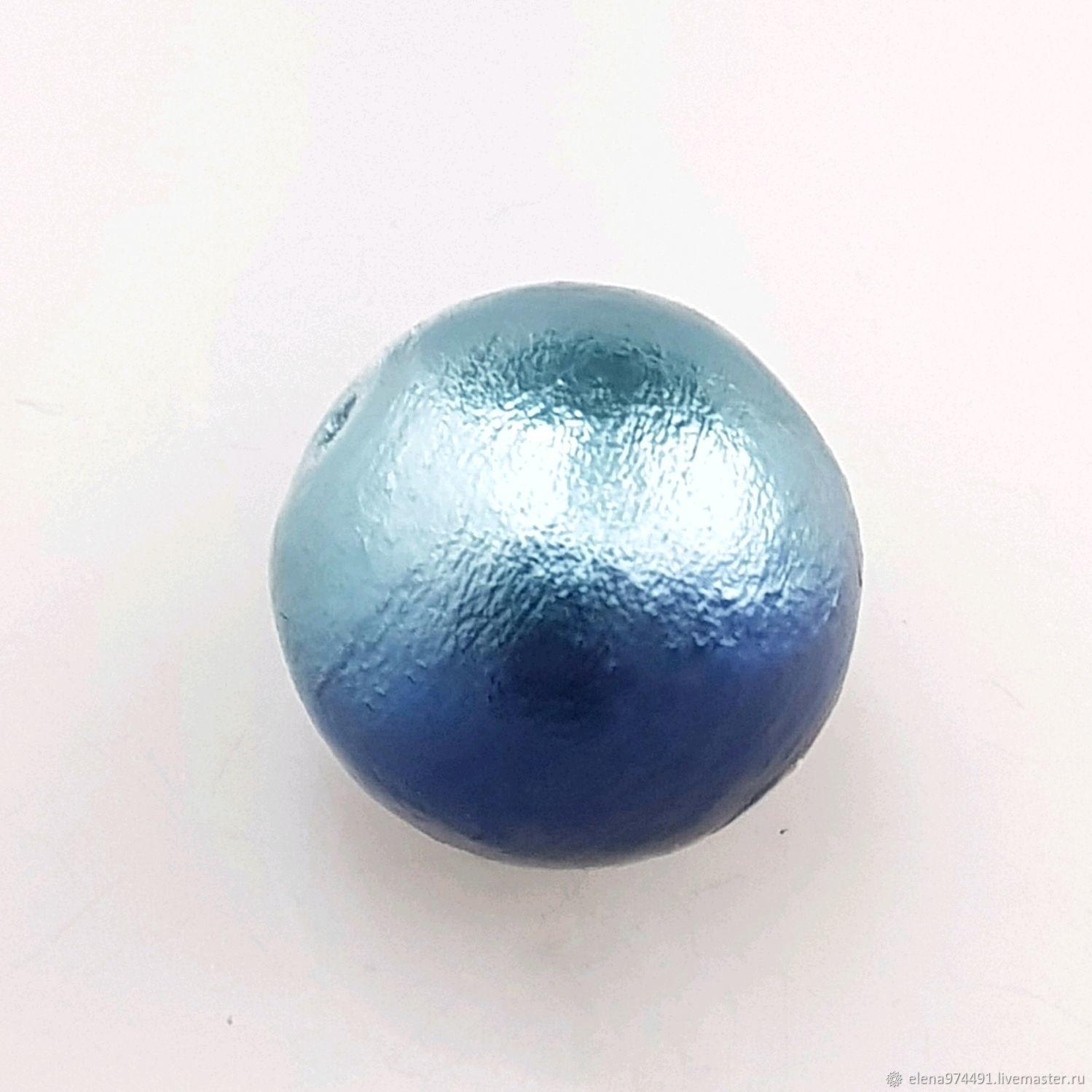 14мм. Хлопковый жемчуг. Морской сине-голубой, Бусины, Москва,  Фото №1