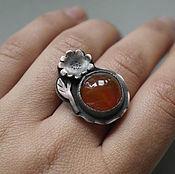 """Украшения ручной работы. Ярмарка Мастеров - ручная работа """"Календула"""" кольцо с сердоликом. Handmade."""