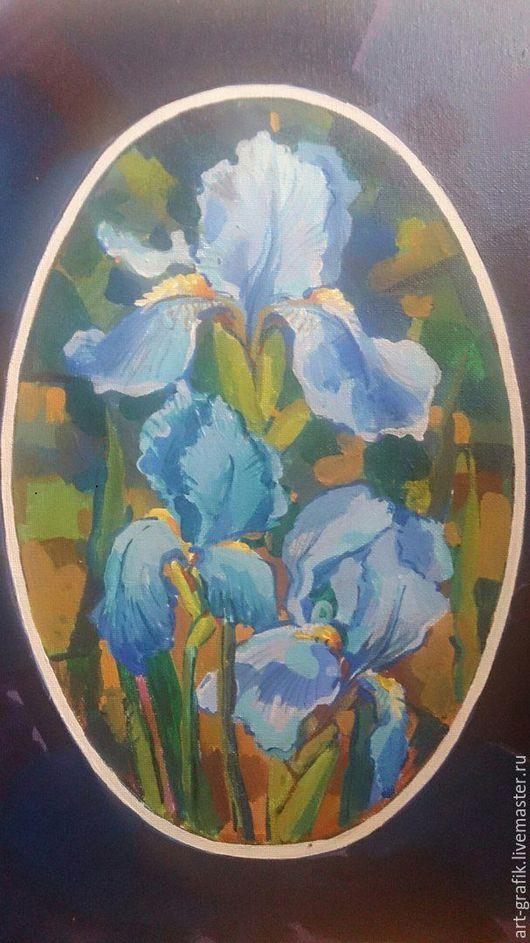 Картины цветов ручной работы. Ярмарка Мастеров - ручная работа. Купить Цветы ирисы. Handmade. Голубой, ирисы, лучший подарок