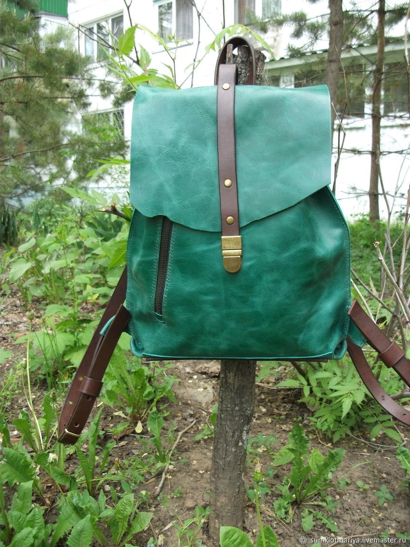 Кожаный рюкзак Изумрудный 2, Рюкзаки, Балаково,  Фото №1