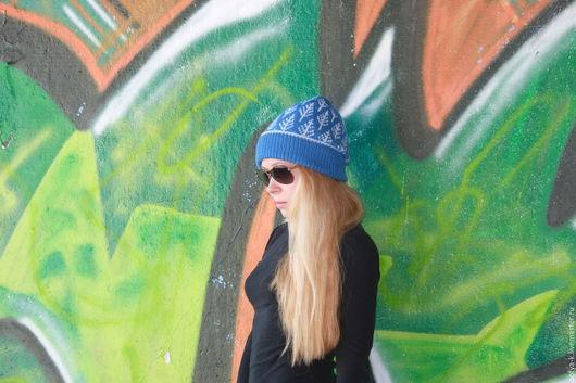 """Шапки ручной работы. Ярмарка Мастеров - ручная работа. Купить Шапка """"Ёлочки"""". Handmade. Синий, шапка вязаная, жаккард"""