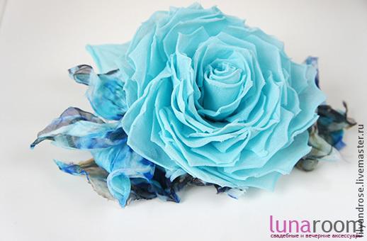 Свадебные украшения ручной работы. Ярмарка Мастеров - ручная работа. Купить Голубая роза брошь. Брошь Роза из шелка.. Handmade.