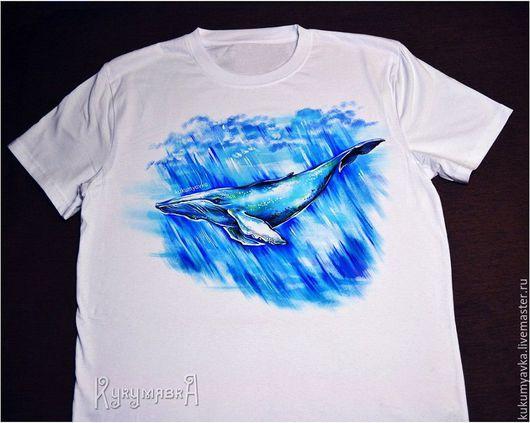 """Футболки, майки ручной работы. Ярмарка Мастеров - ручная работа. Купить Футболка """"Синий кит"""" ручная роспись одежды. Handmade."""
