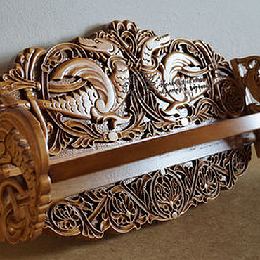 Для дома и интерьера ручной работы. Ярмарка Мастеров - ручная работа Полка резная деревянная Драконы. Handmade.