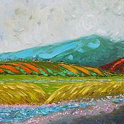 """Картины и панно ручной работы. Ярмарка Мастеров - ручная работа """"Гора Мтирала"""" 90х90 см картина маслом мастихином пейзаж. Handmade."""