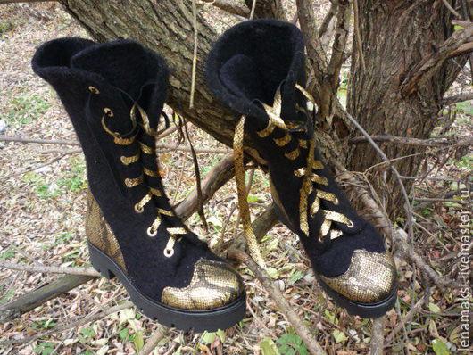 """Обувь ручной работы. Ярмарка Мастеров - ручная работа. Купить Ботинки войлочные """"Анаконда"""". Handmade. Черный, валенки ручной работы"""