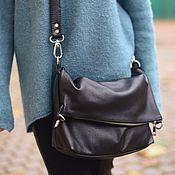 Сумки и аксессуары handmade. Livemaster - original item Asymmetric leather black bag crossbody. Handmade.