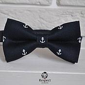 Аксессуары handmade. Livemaster - original item Tie NEO / dark blue bow tie with anchors. Handmade.