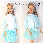 """Куклы и игрушки ручной работы. Ярмарка Мастеров - ручная работа Джемпер и юбочка на куклу Барби -""""Прохладная мята"""". Handmade."""