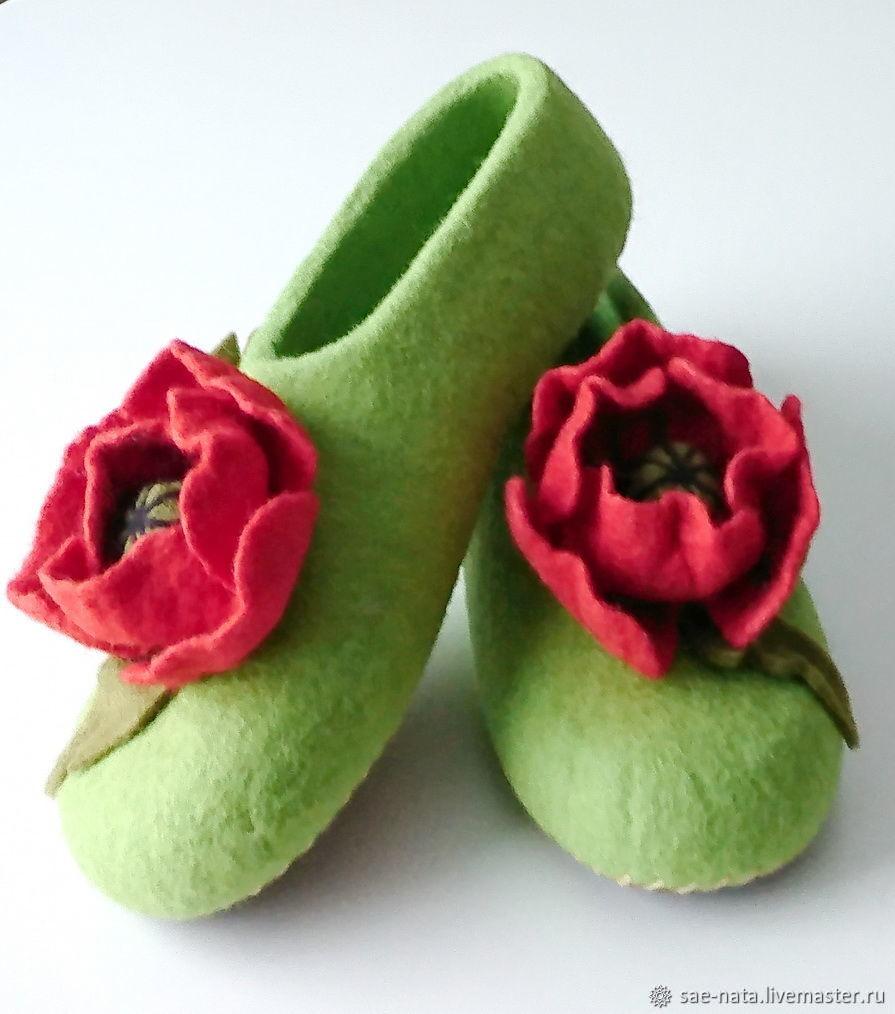 Women's felted Slippers from natural wool, Slippers, Leninsk-Kuznetsky,  Фото №1