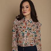 Одежда ручной работы. Ярмарка Мастеров - ручная работа Блуза с воланом, персиковая, 40,42,44. Handmade.