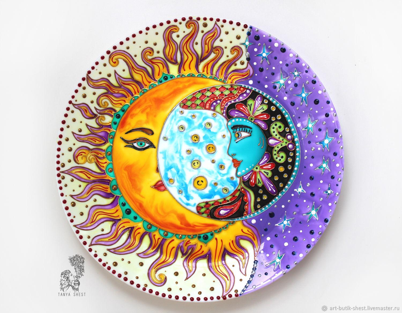 Декоративная посуда ручной работы. Ярмарка Мастеров - ручная работа. Купить Декоративная тарелка 'Солнечное затмение' ручная роспись. Handmade.