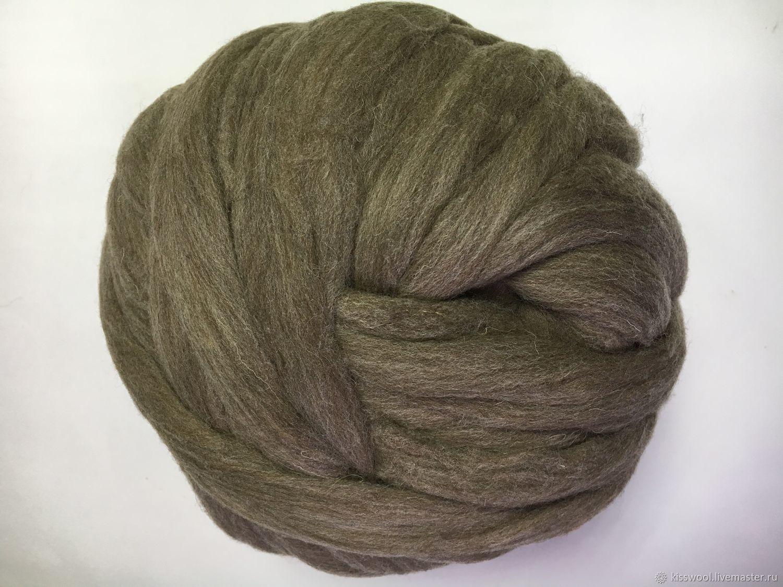 French wool. Gray-brown. 28 MKR. Germany. Wool, Wool, Berdsk,  Фото №1