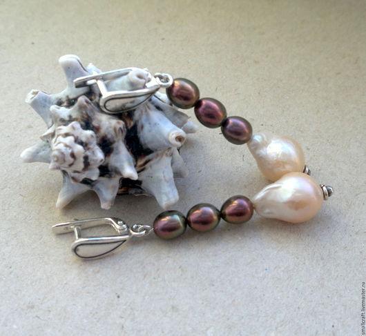 Серьги ручной работы. Ярмарка Мастеров - ручная работа. Купить Длинные серебряные серьги с натуральным жемчугом барокко. Handmade.