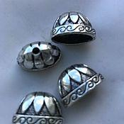 Материалы для творчества ручной работы. Ярмарка Мастеров - ручная работа 2 шт Шапочка для кистей 12х 12х20 мм тибетское серебро. Handmade.
