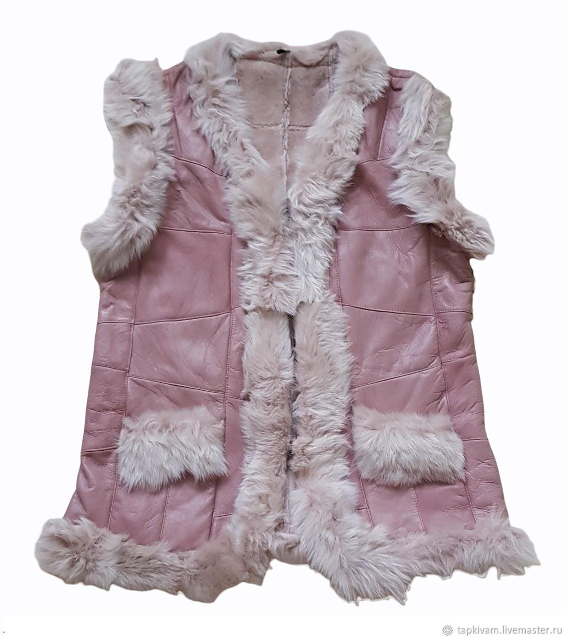 Women's vest made of sheepskin and tuscany pink, Vests, Moscow,  Фото №1