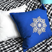 "Подушки ручной работы. Ярмарка Мастеров - ручная работа Чехол на подушку 50х50 см ""Кружева"" - 1 blue. Handmade."