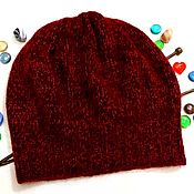 Аксессуары handmade. Livemaster - original item Knitted women`s beanie hat (beret) of mohair and Merino. Handmade.