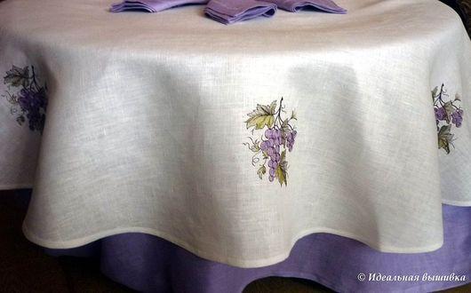 """Текстиль, ковры ручной работы. Ярмарка Мастеров - ручная работа. Купить Скатерть """"Спелый виноград"""". Handmade. Виноград, вышивка на льне"""
