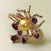 Jewelry Sets handmade. Livemaster - original item Author`s ring, yellow pearls and rubies
