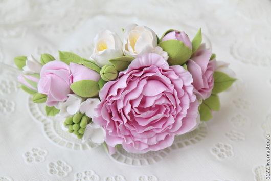 Диадемы, обручи ручной работы. Ярмарка Мастеров - ручная работа. Купить Ободок с розовым пионом и фрезией. Handmade. Бледно-розовый