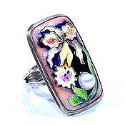 """Украшения ручной работы. Ярмарка Мастеров - ручная работа """"Орхидея"""" кольцо с горячей перегородчатой эмалью и белой жемчужиной. Handmade."""