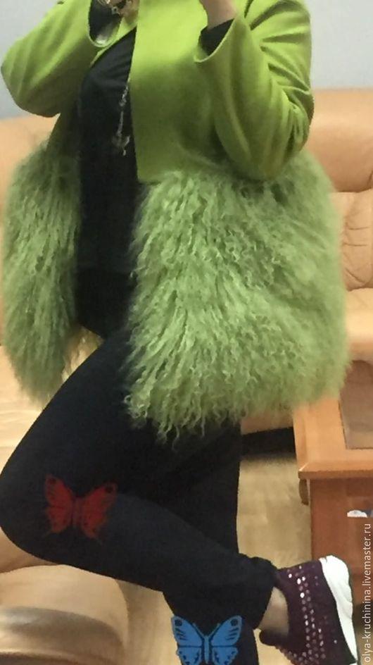 Верхняя одежда ручной работы. Ярмарка Мастеров - ручная работа. Купить Пальто с мехом ламы. Handmade. Салатовый, пальто