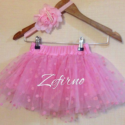Одежда для девочек, ручной работы. Ярмарка Мастеров - ручная работа. Купить Детская юбка из фатина цвет розовый в горох. Handmade.