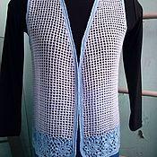 Одежда ручной работы. Ярмарка Мастеров - ручная работа жилет сетчатый из акрила Голубые цветы. Handmade.