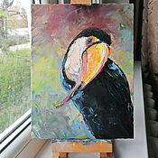 Картины и панно handmade. Livemaster - original item Toucan. Oil painting 20/25 cm. Handmade.