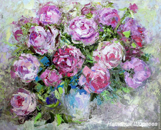 """Картины цветов ручной работы. Ярмарка Мастеров - ручная работа. Купить Картина розы """"Розовая Симфония"""" картина маслом с розами. Handmade."""