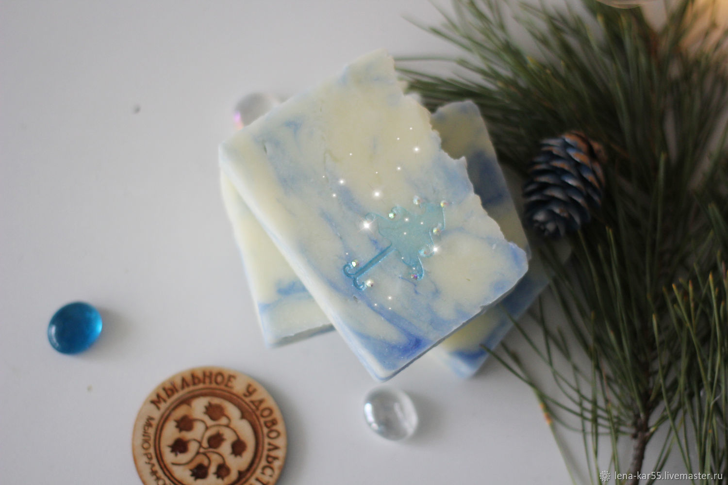 Soap Christmas natural from scratch gift for The new year blue, Soap, Novye Burasy,  Фото №1