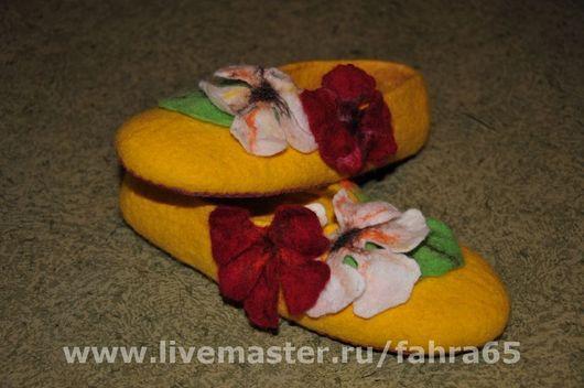 Обувь ручной работы. Ярмарка Мастеров - ручная работа. Купить настурция. Handmade. Настурция, домашние тапочки, домашняя обувь